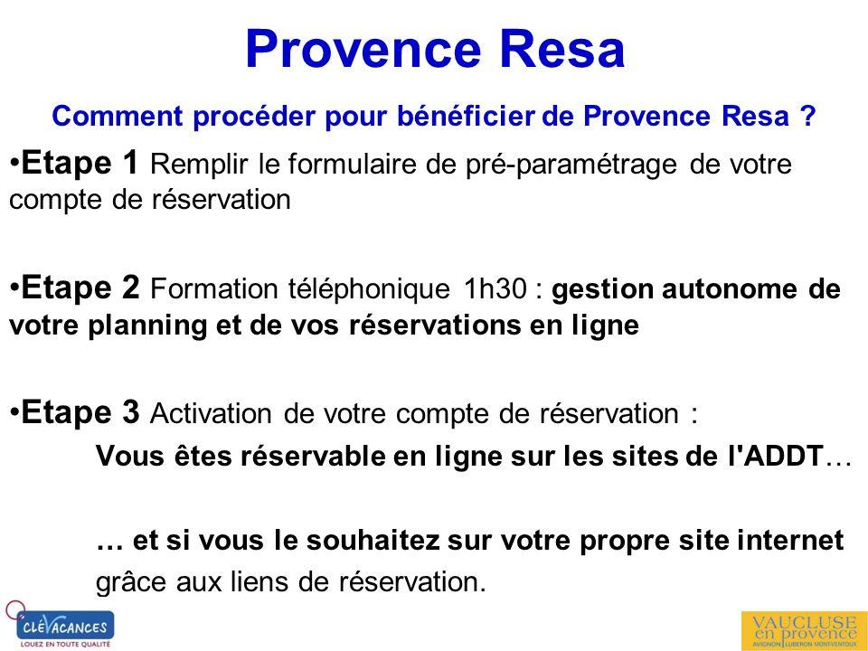 Comment procéder pour bénéficier de Provence Resa