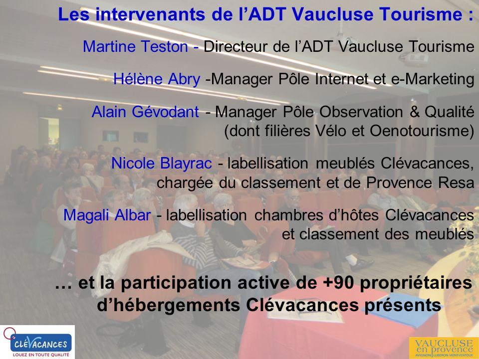 Les intervenants de l'ADT Vaucluse Tourisme :