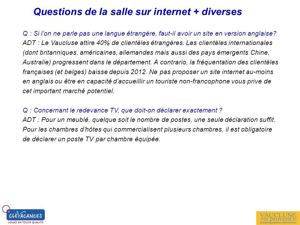 Questions de la salle sur internet + diverses