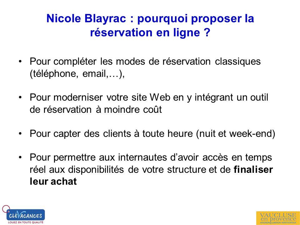Nicole Blayrac : pourquoi proposer la réservation en ligne