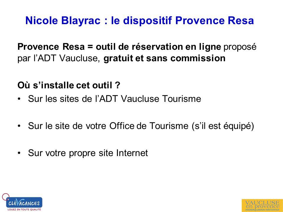 Nicole Blayrac : le dispositif Provence Resa