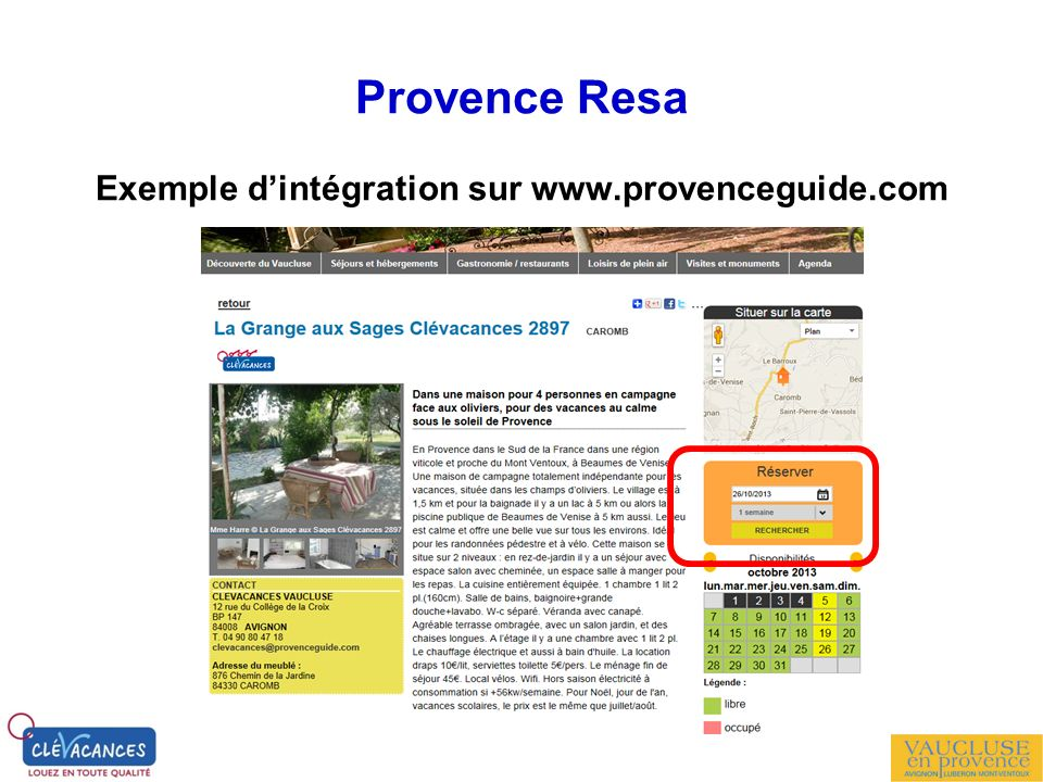Exemple d'intégration sur www.provenceguide.com