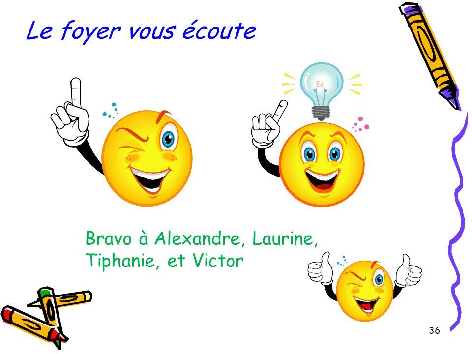 Le foyer vous écoute Bravo à Alexandre, Laurine, Tiphanie, et Victor