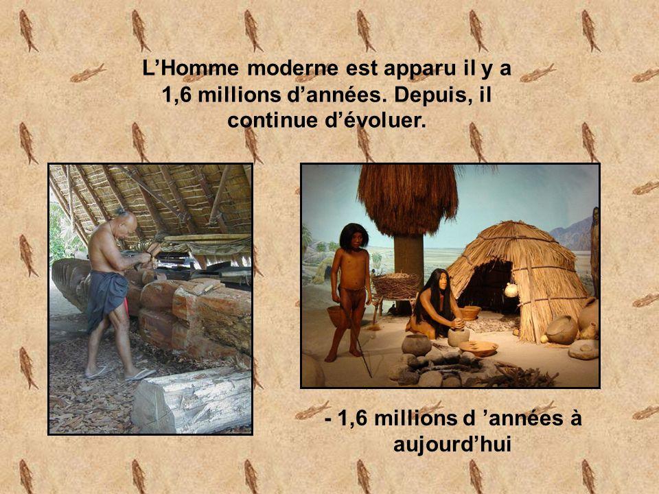 - 1,6 millions d 'années à aujourd'hui