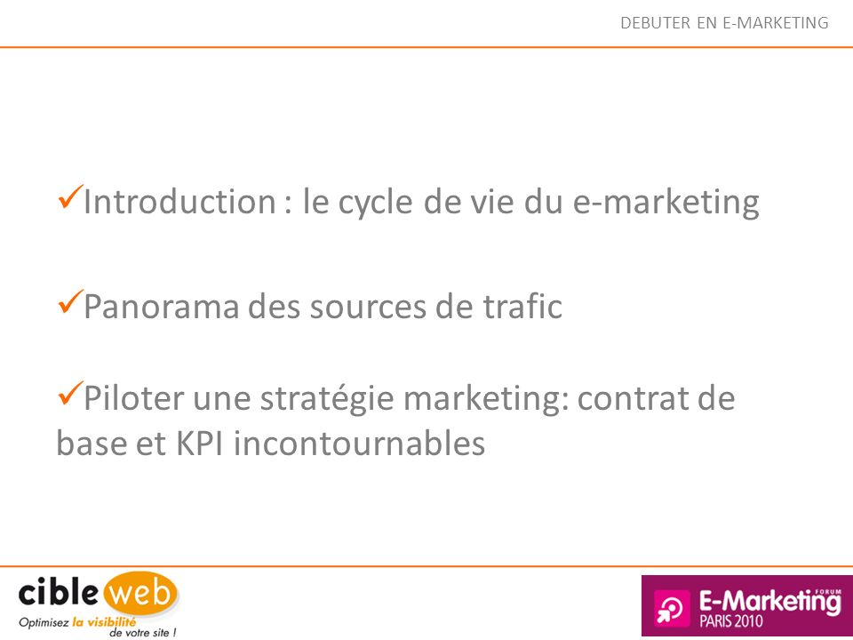 Introduction : le cycle de vie du e-marketing