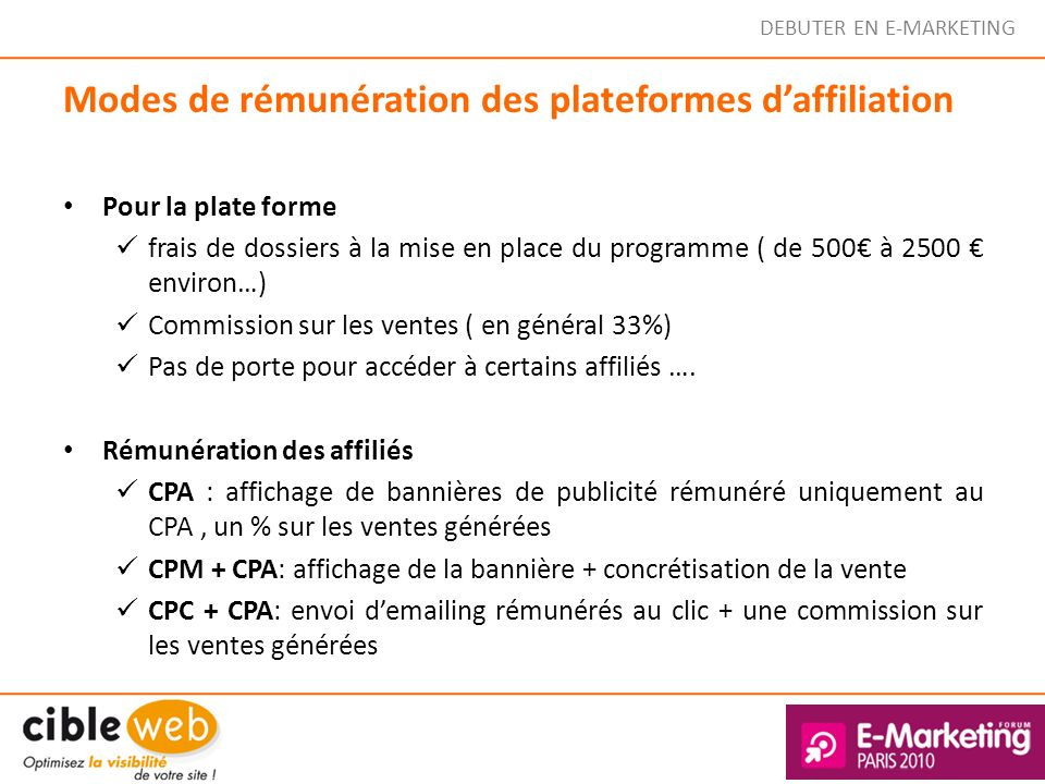Modes de rémunération des plateformes d'affiliation