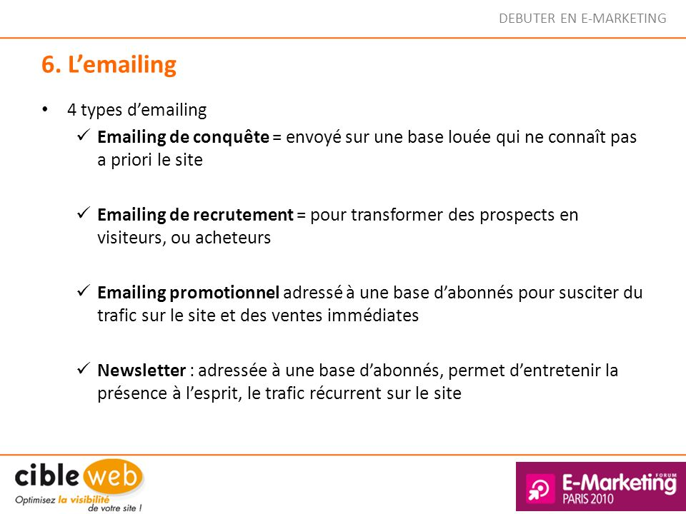 6. L'emailing 4 types d'emailing