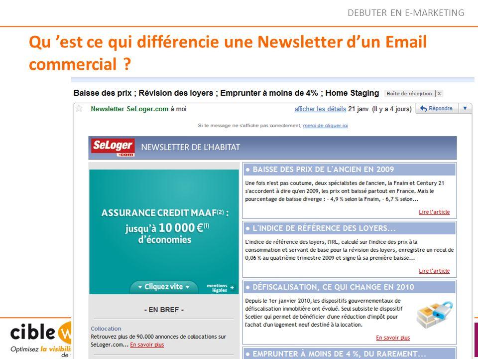 Qu 'est ce qui différencie une Newsletter d'un Email commercial