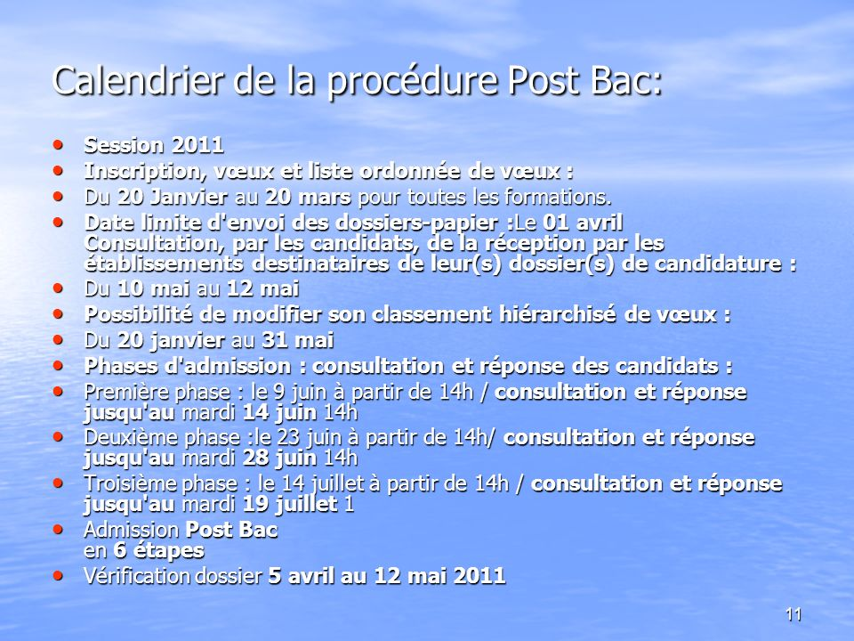Calendrier de la procédure Post Bac: