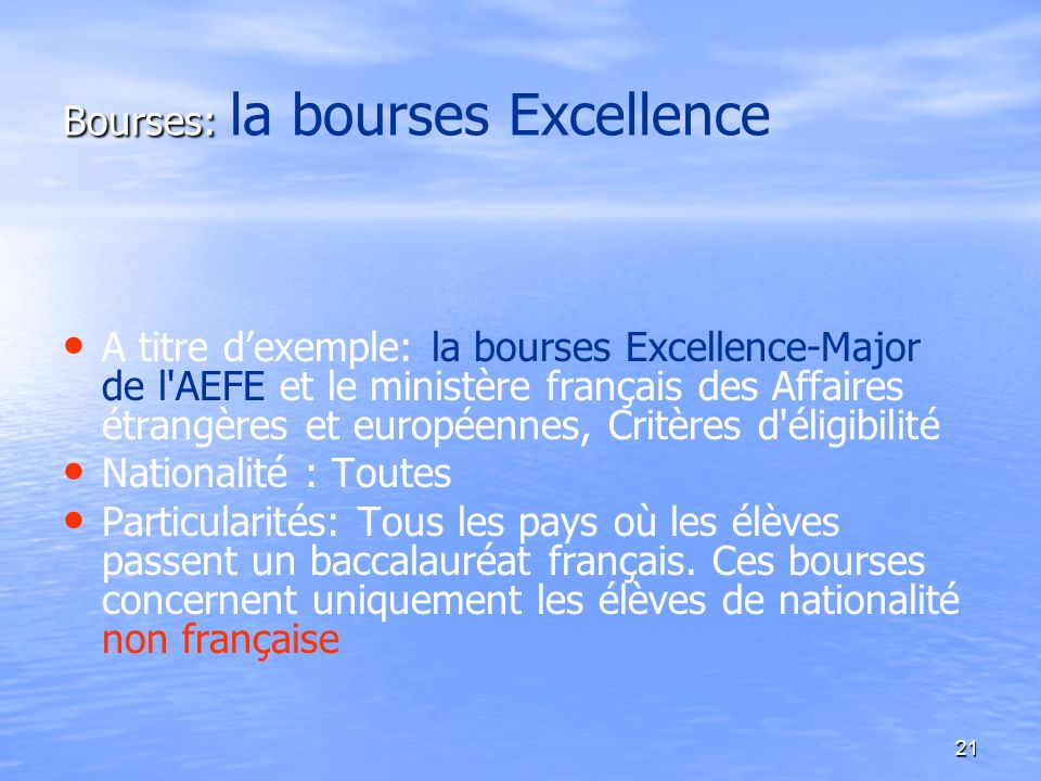 Bourses: la bourses Excellence