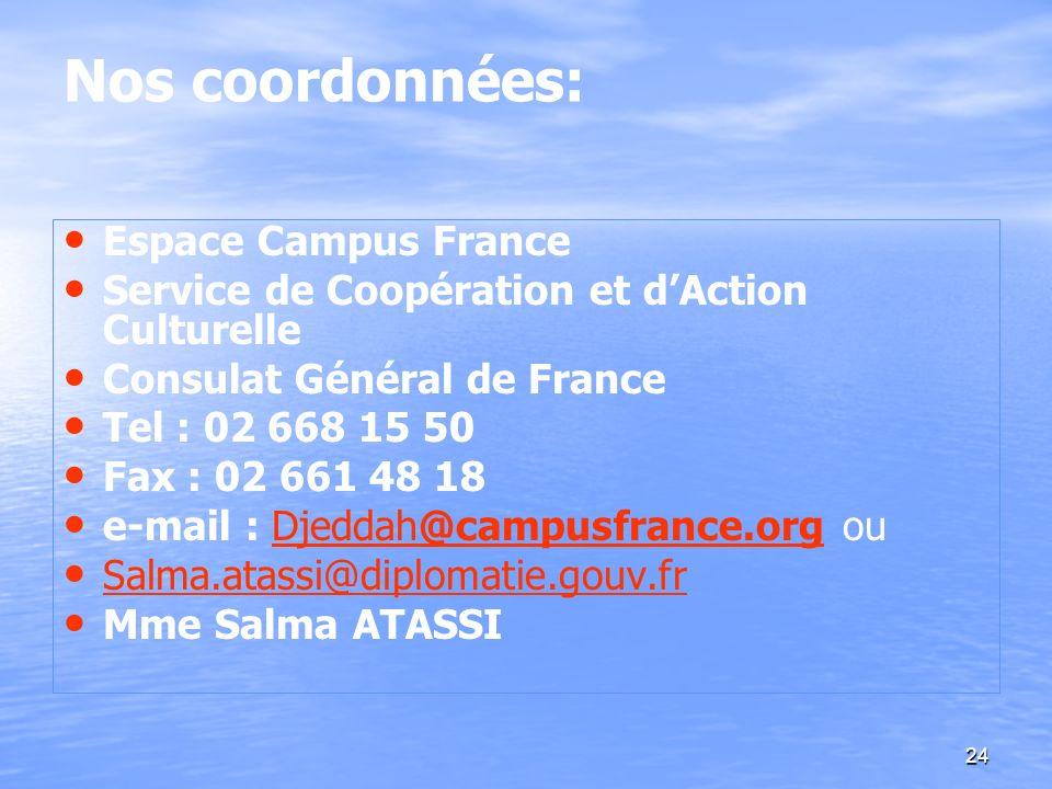 Nos coordonnées: Espace Campus France