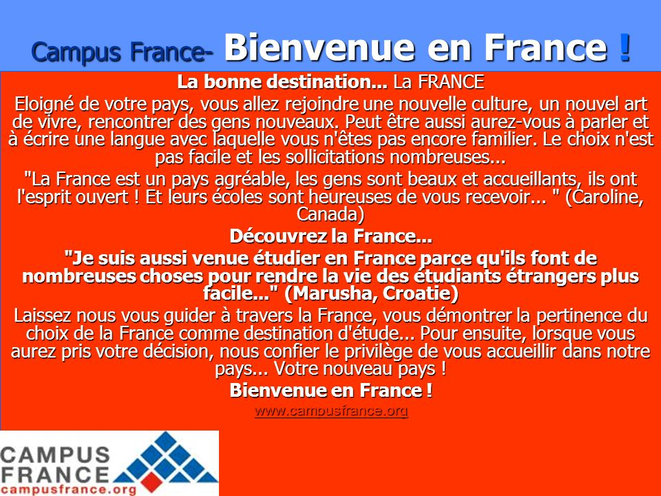 Campus France- Bienvenue en France !