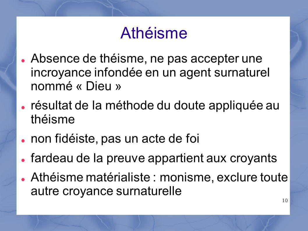 Athéisme Absence de théisme, ne pas accepter une incroyance infondée en un agent surnaturel nommé « Dieu »