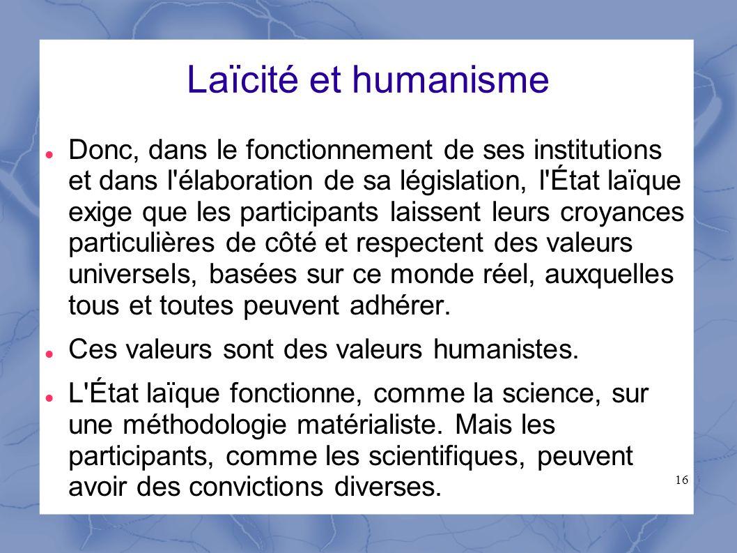 Laïcité et humanisme
