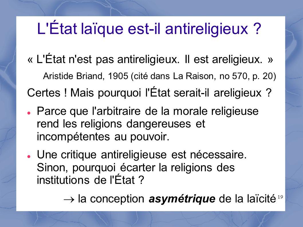 L État laïque est-il antireligieux