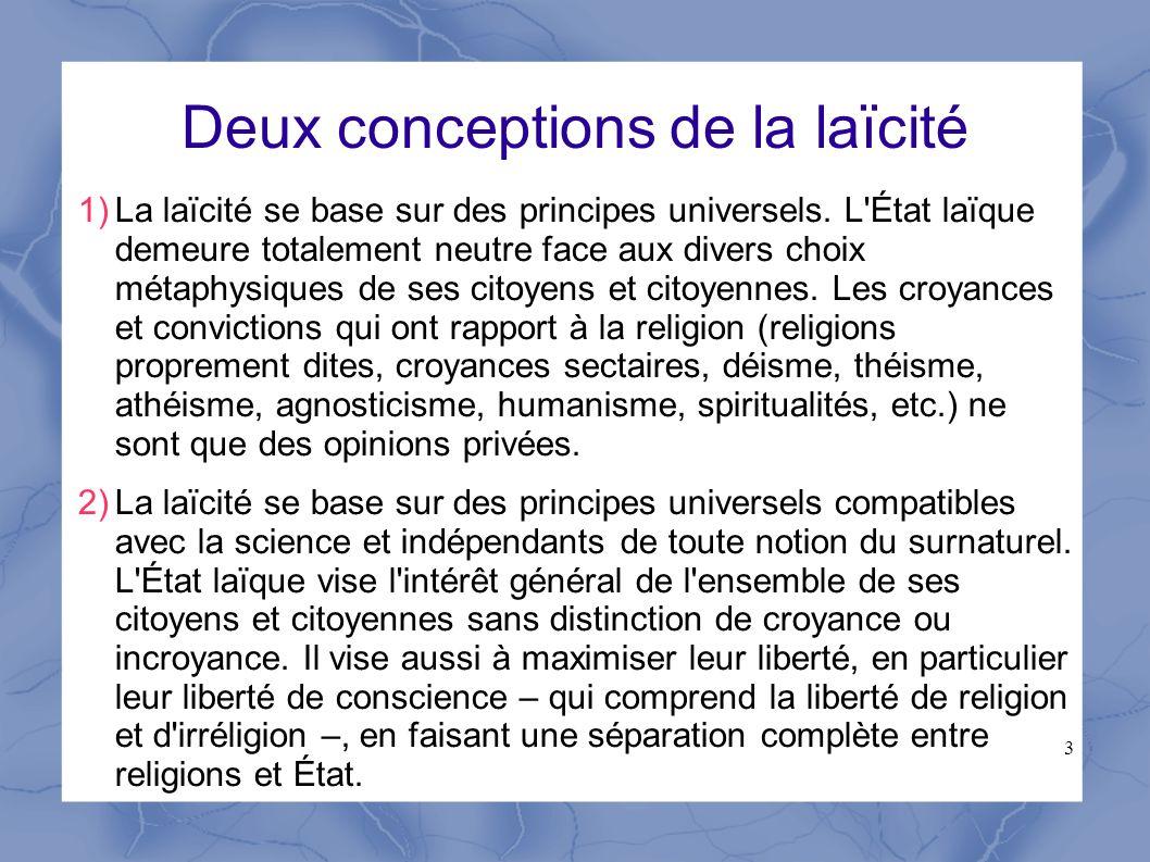 Deux conceptions de la laïcité