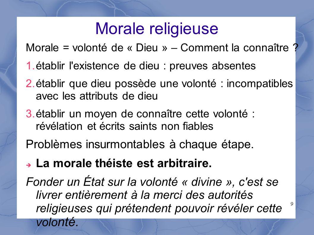 Morale religieuse Problèmes insurmontables à chaque étape.