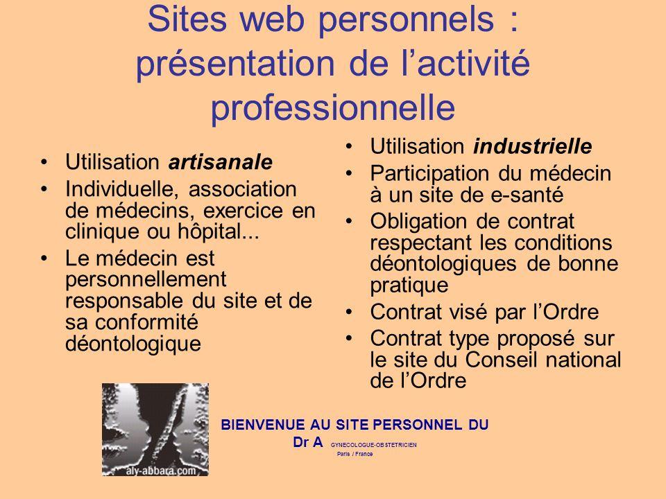 Sites web personnels : présentation de l'activité professionnelle