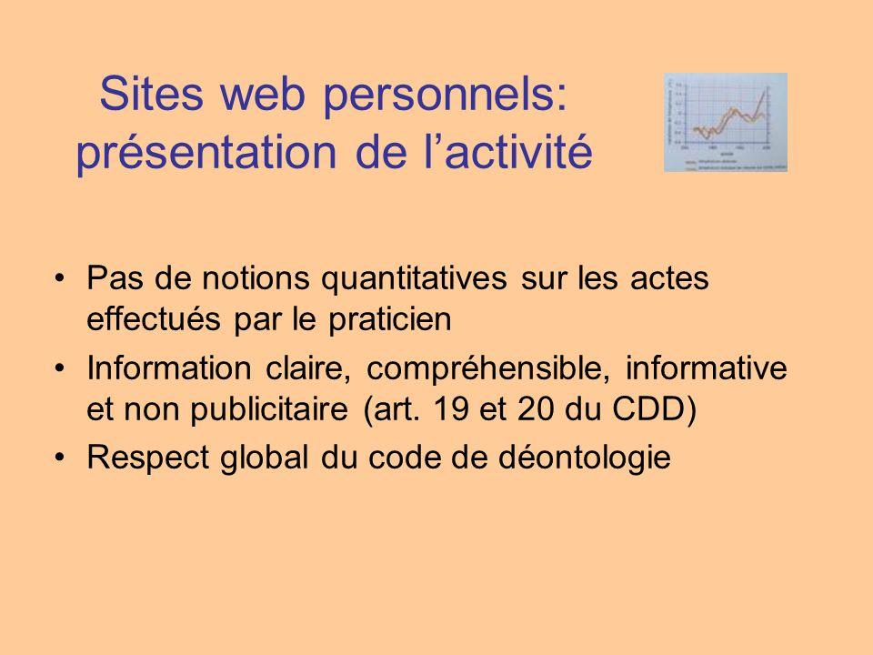 Sites web personnels: présentation de l'activité
