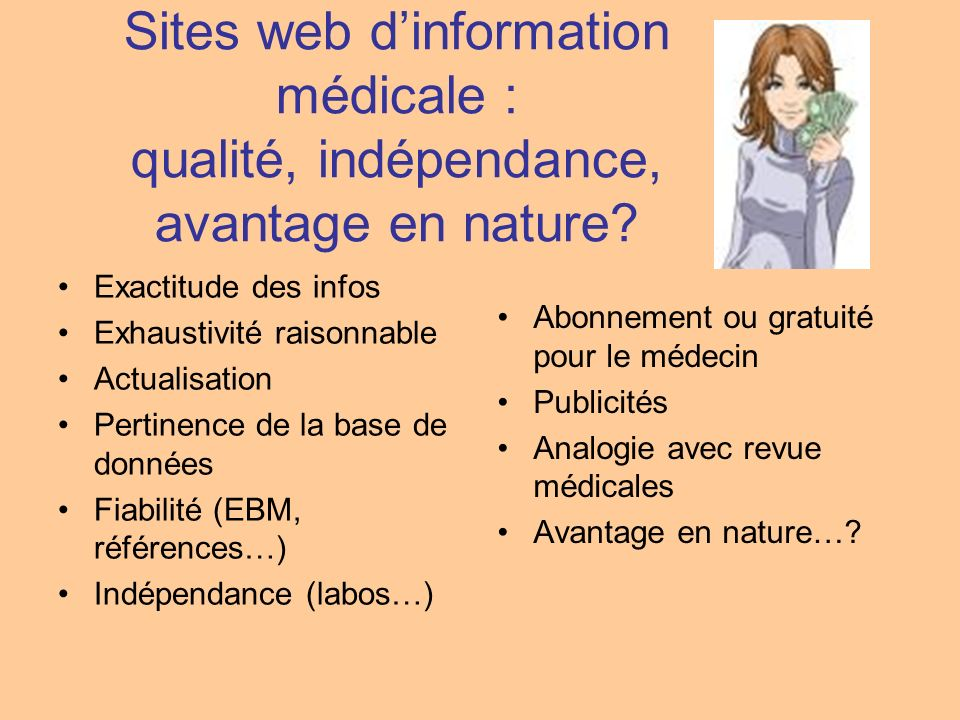 Sites web d'information médicale : qualité, indépendance, avantage en nature