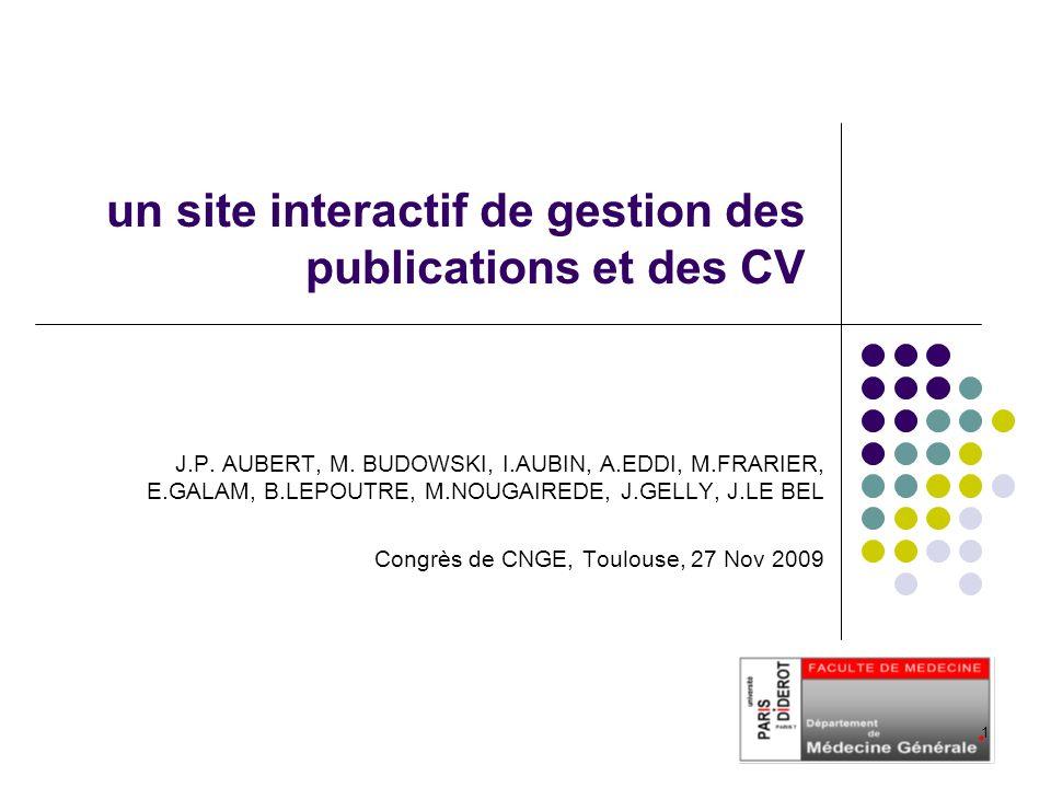 un site interactif de gestion des publications et des CV