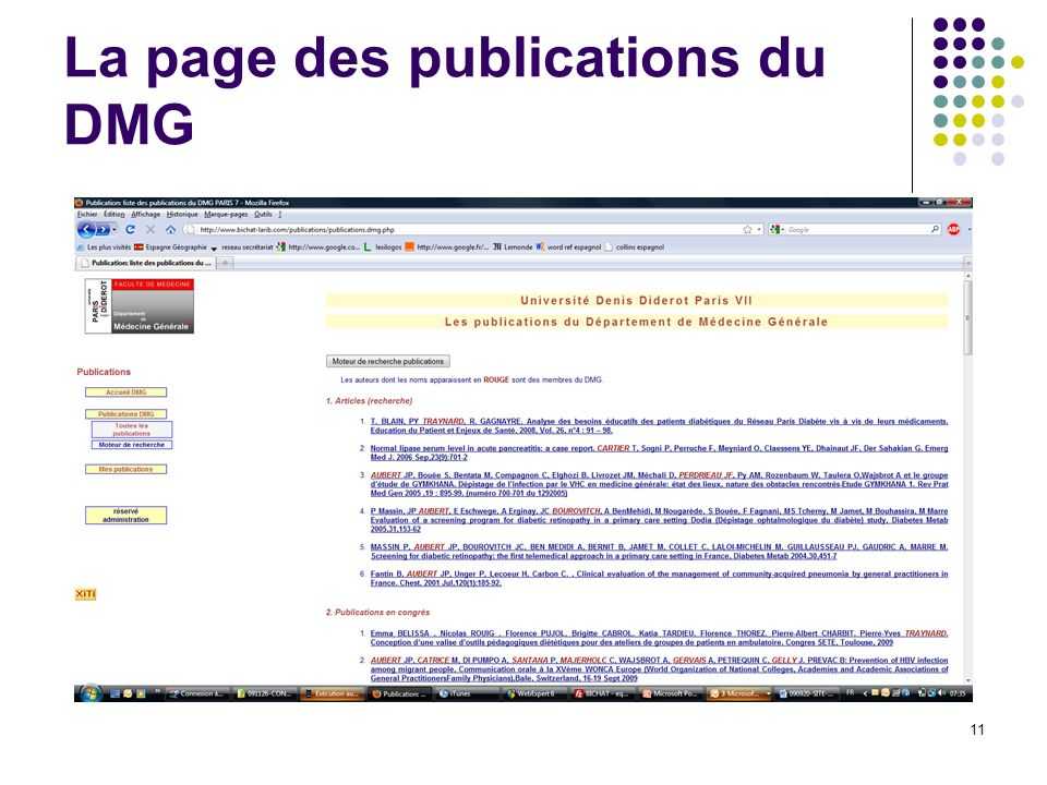 La page des publications du DMG