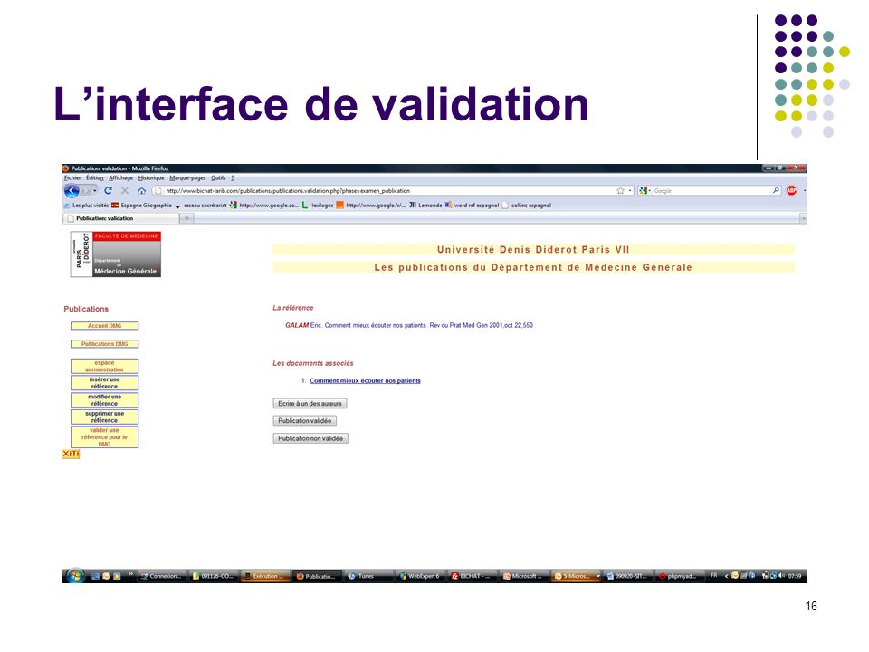L'interface de validation