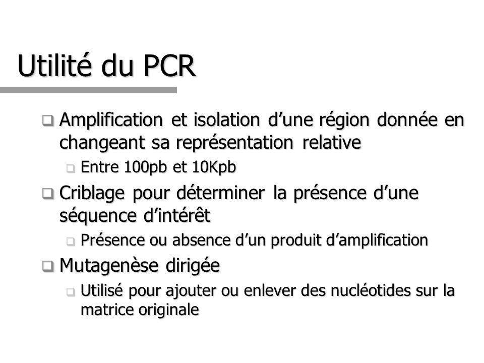 Utilité du PCR Amplification et isolation d'une région donnée en changeant sa représentation relative.
