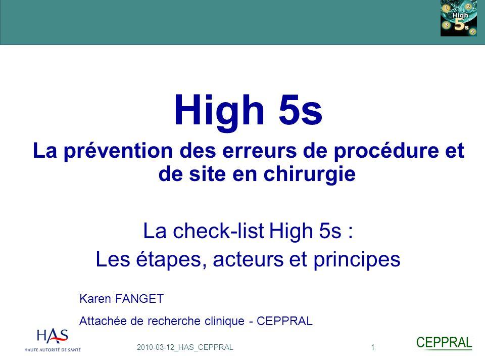 La prévention des erreurs de procédure et de site en chirurgie