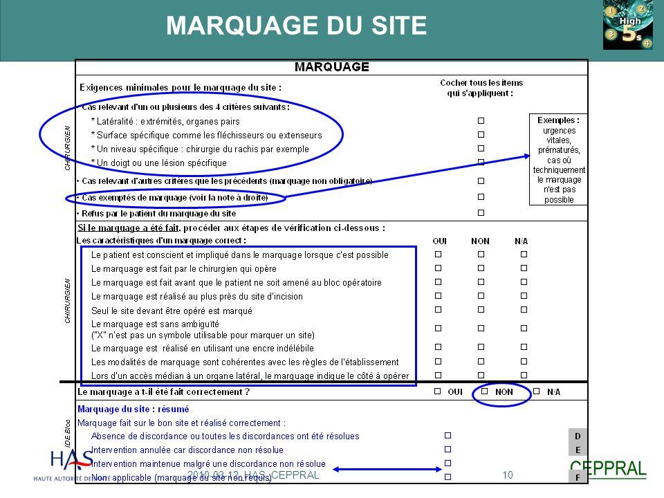 MARQUAGE DU SITE 1. Dans le protocole High 5s, seuls les cas chirurgicaux relevant de ces critères requièrent le marquage.