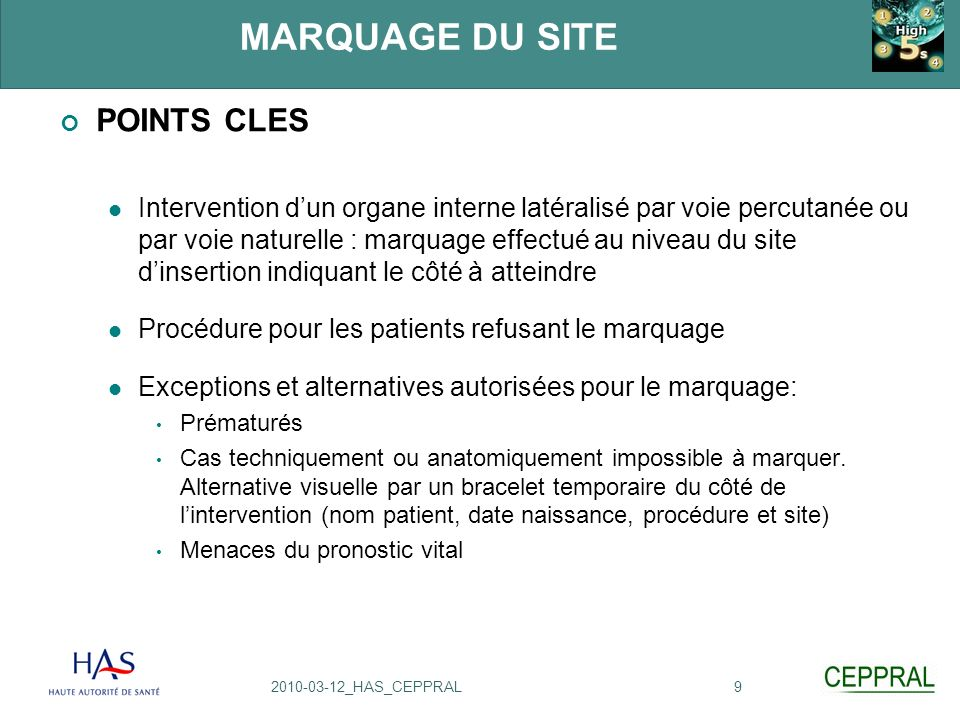 MARQUAGE DU SITE POINTS CLES