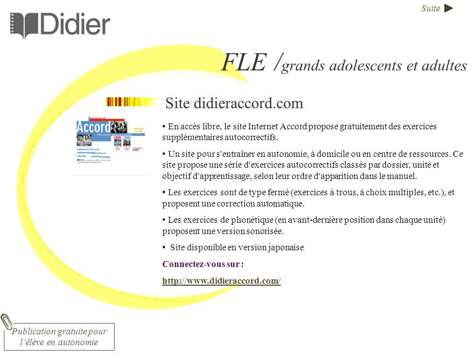 Publication gratuite pour l'élève en autonomie