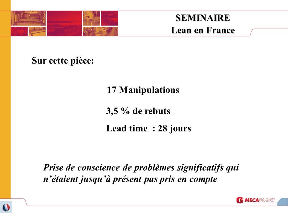SEMINAIRE Lean en France. Sur cette pièce: 17 Manipulations. 3,5 % de rebuts. Lead time : 28 jours.