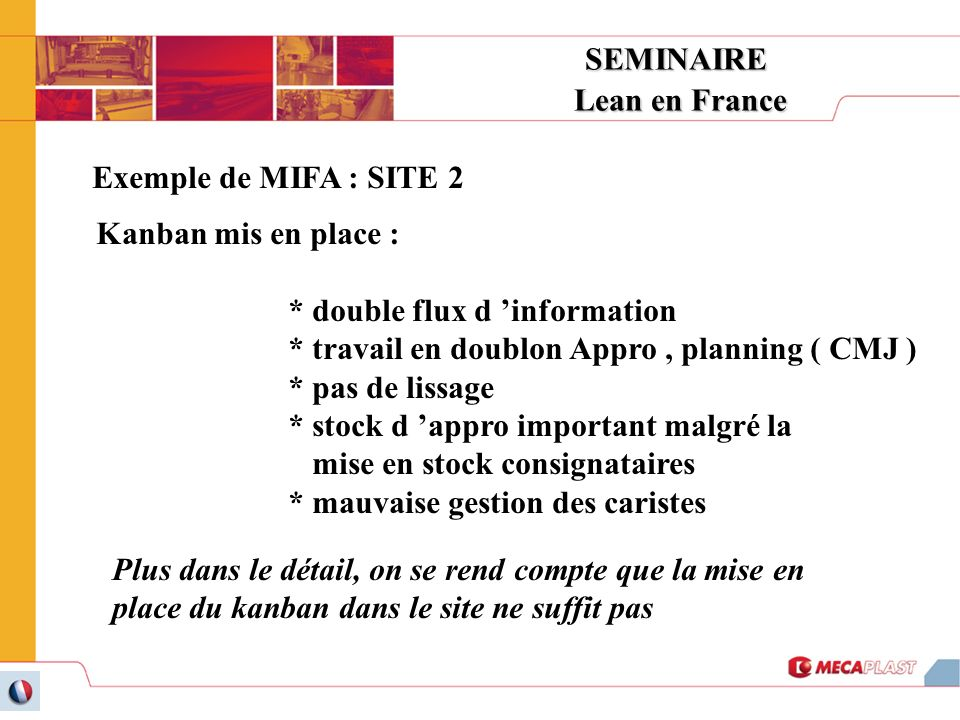 SEMINAIRE Lean en France. Exemple de MIFA : SITE 2. Kanban mis en place : * double flux d 'information.