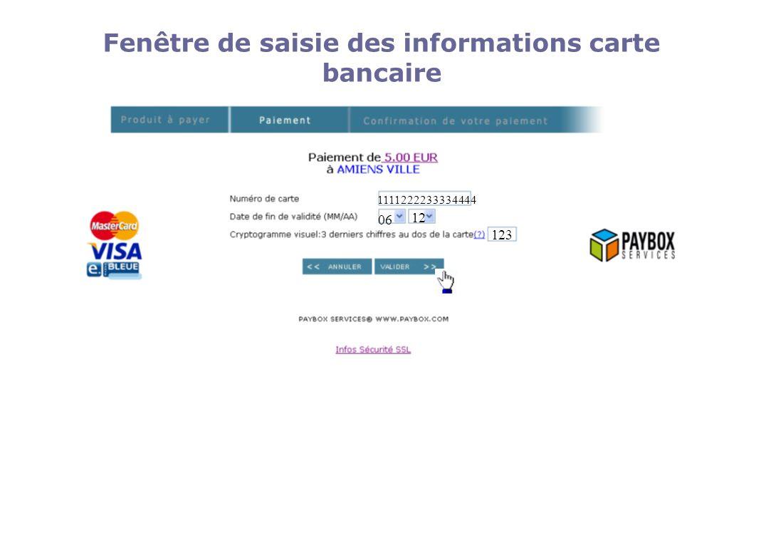 Fenêtre de saisie des informations carte bancaire