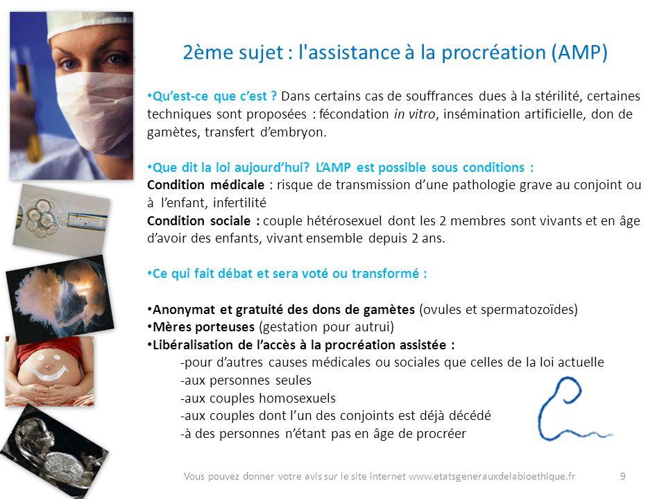 2ème sujet : l assistance à la procréation (AMP)