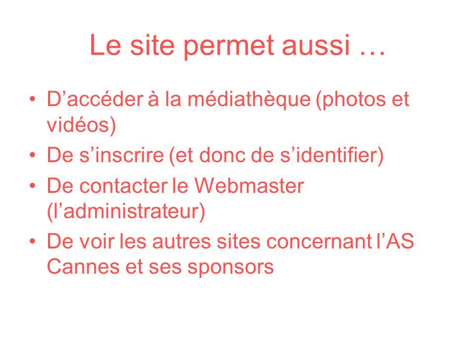 Le site permet aussi … D'accéder à la médiathèque (photos et vidéos)