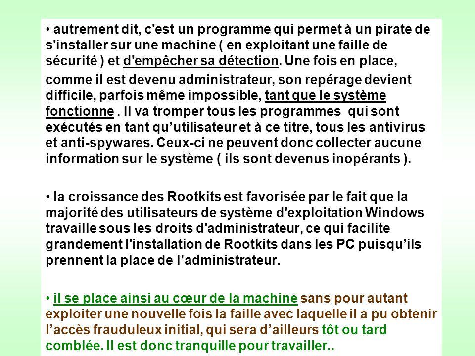 autrement dit, c est un programme qui permet à un pirate de s installer sur une machine ( en exploitant une faille de sécurité ) et d empêcher sa détection. Une fois en place,