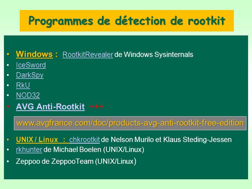 Programmes de détection de rootkit