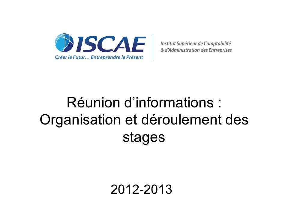 Réunion d'informations : Organisation et déroulement des stages