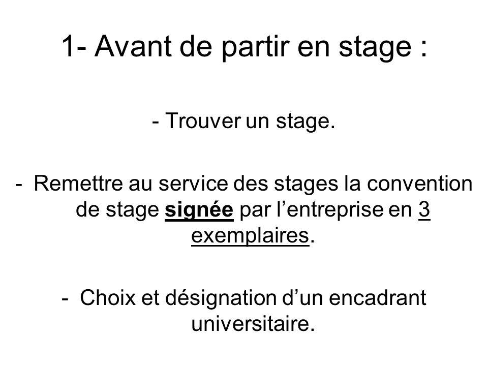 1- Avant de partir en stage :