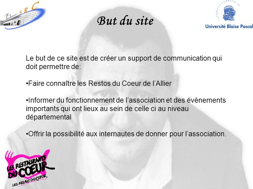 But du site Le but de ce site est de créer un support de communication qui doit permettre de: Faire connaître les Restos du Coeur de l'Allier.