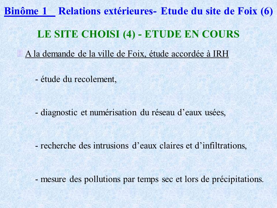 Binôme 1 Relations extérieures- Etude du site de Foix (6)