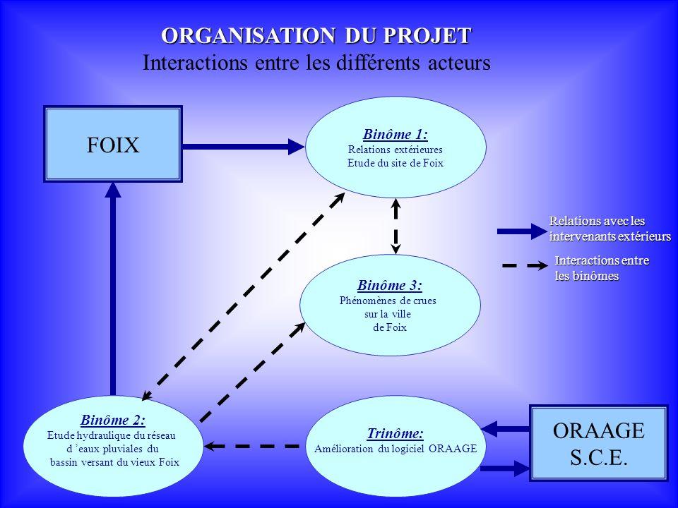 ORGANISATION DU PROJET Interactions entre les différents acteurs