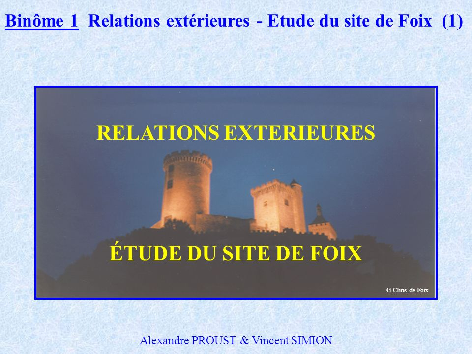 RELATIONS EXTERIEURES