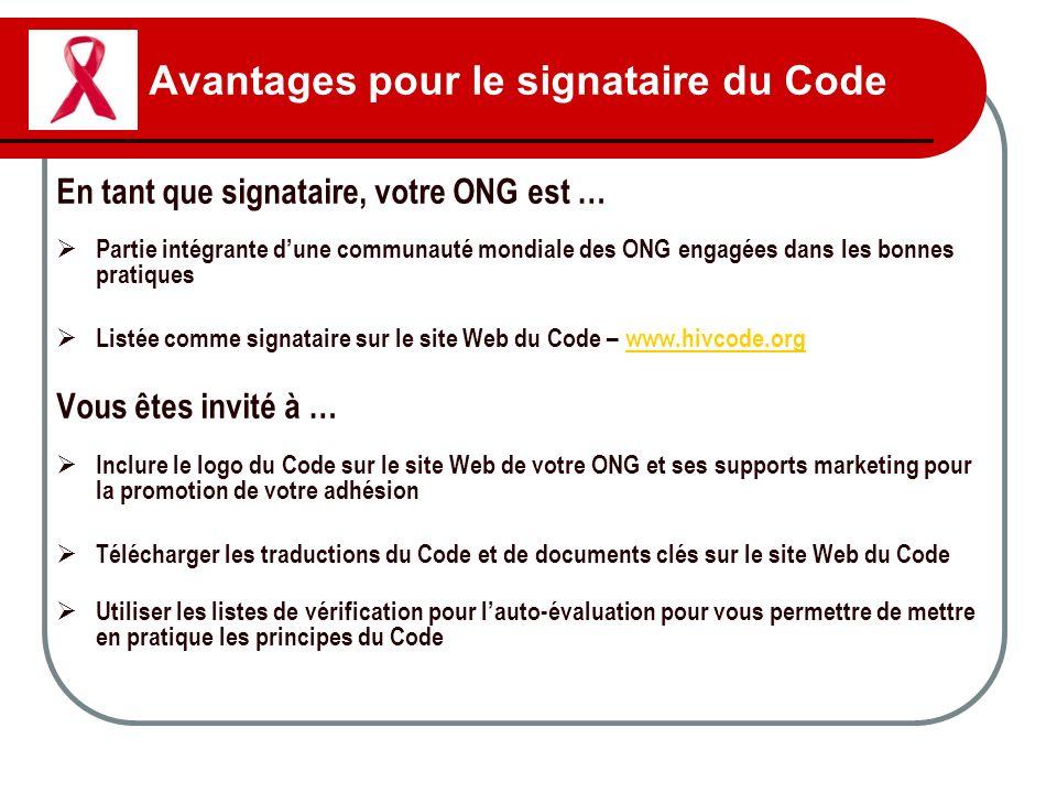 Avantages pour le signataire du Code