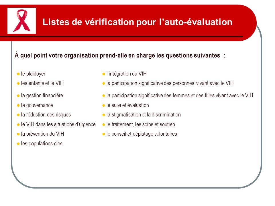 Listes de vérification pour l'auto-évaluation
