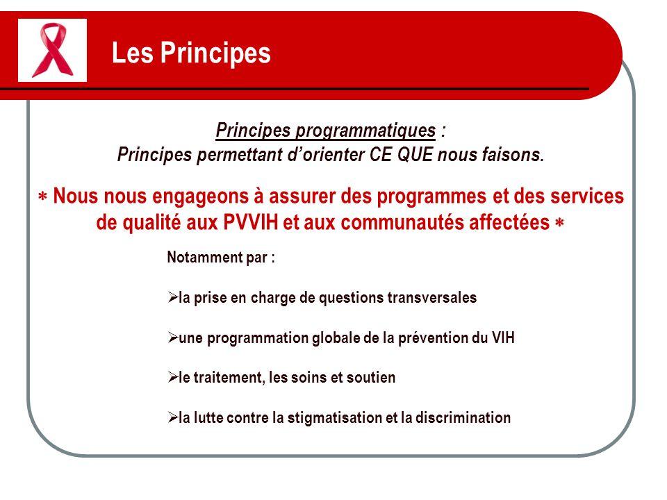 Les Principes Principes programmatiques : Principes permettant d'orienter CE QUE nous faisons.