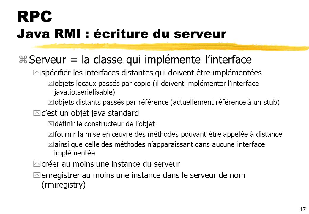 RPC Java RMI : écriture du serveur