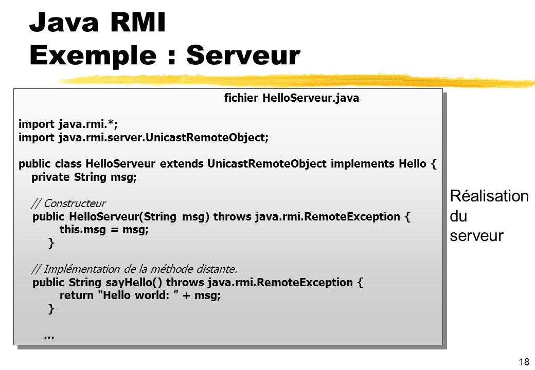Java RMI Exemple : Serveur